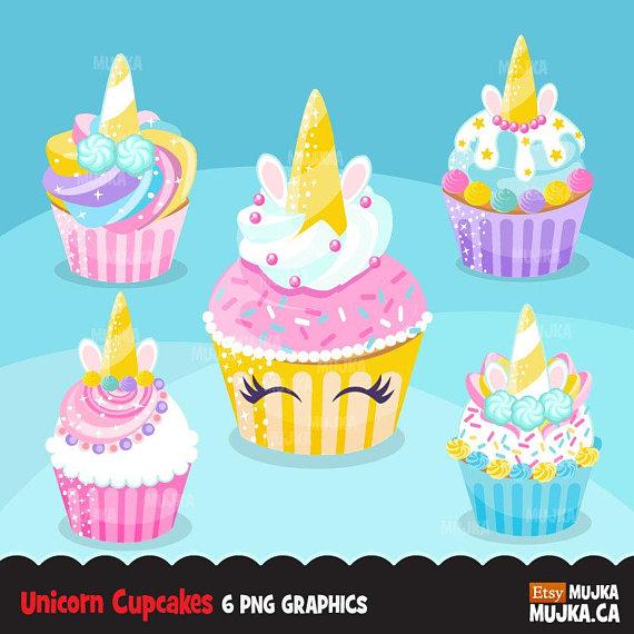 Unicorn rainbow cupcakes baking. Cupcake clipart mermaid