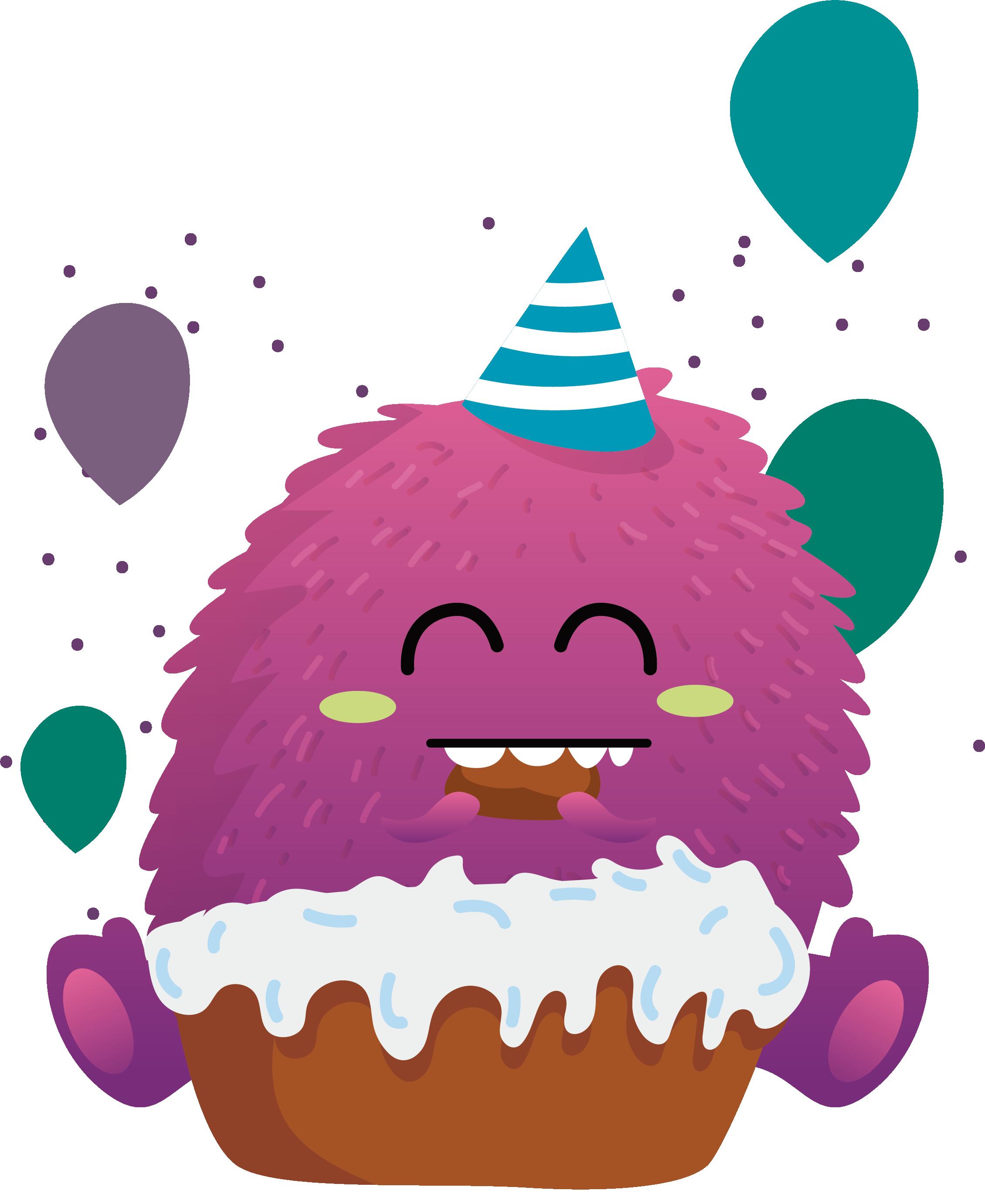Cupcake clipart monster. Fruitcake birthday cake bxe