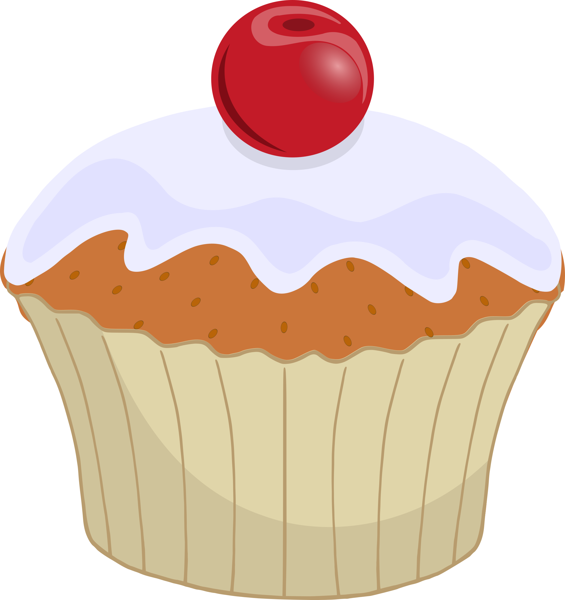 Muffin clipart frosted cupcake. Frosting icing cherry clip