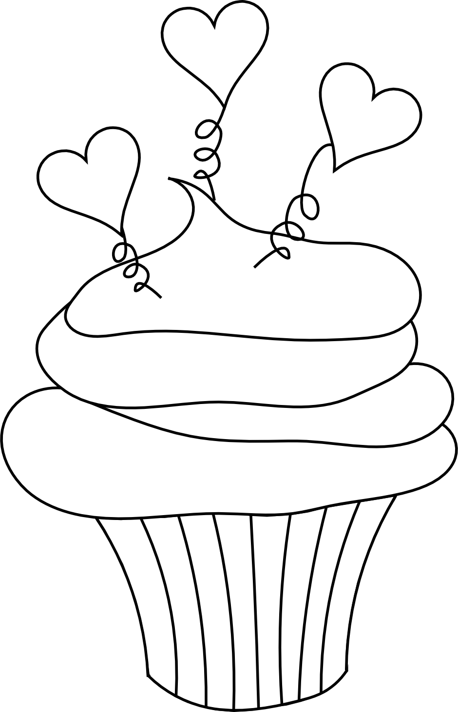 Clipart cupcake outline. Black and white panda