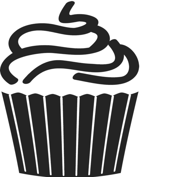 Swirl frosted rubber stamp. Clipart cupcake outline