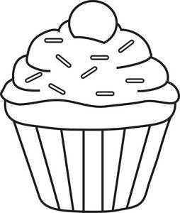 Clipart cupcake outline. Sprinkles single cupcakery coloring