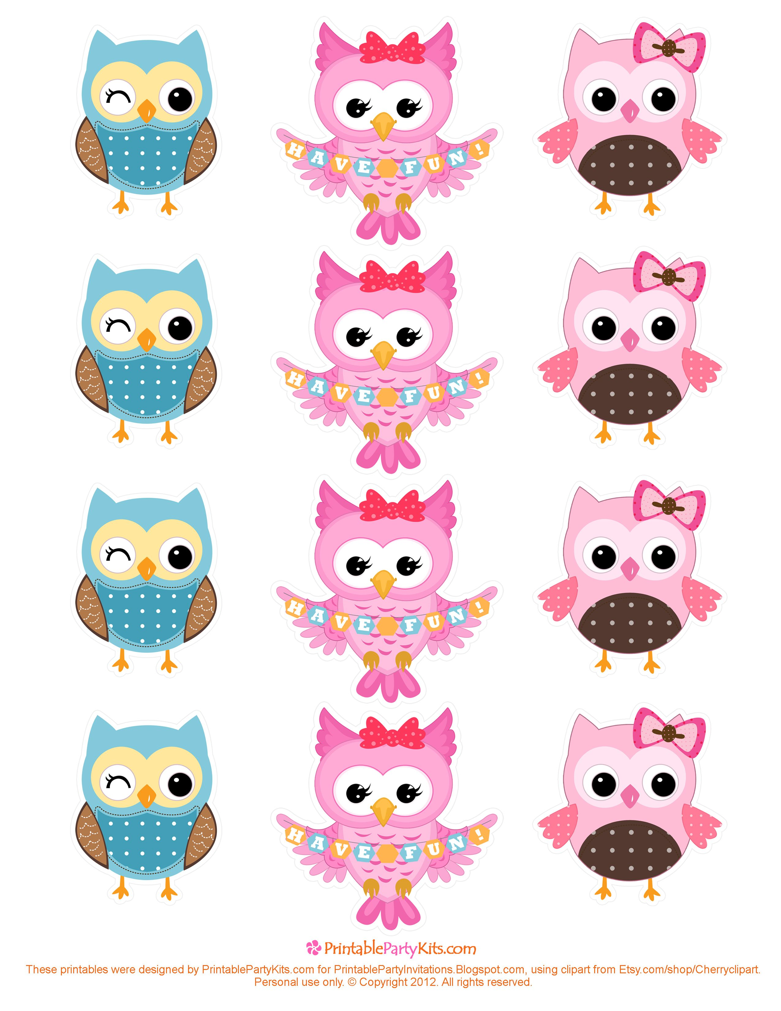 Owls banner toppers printables. Owl clipart cupcake
