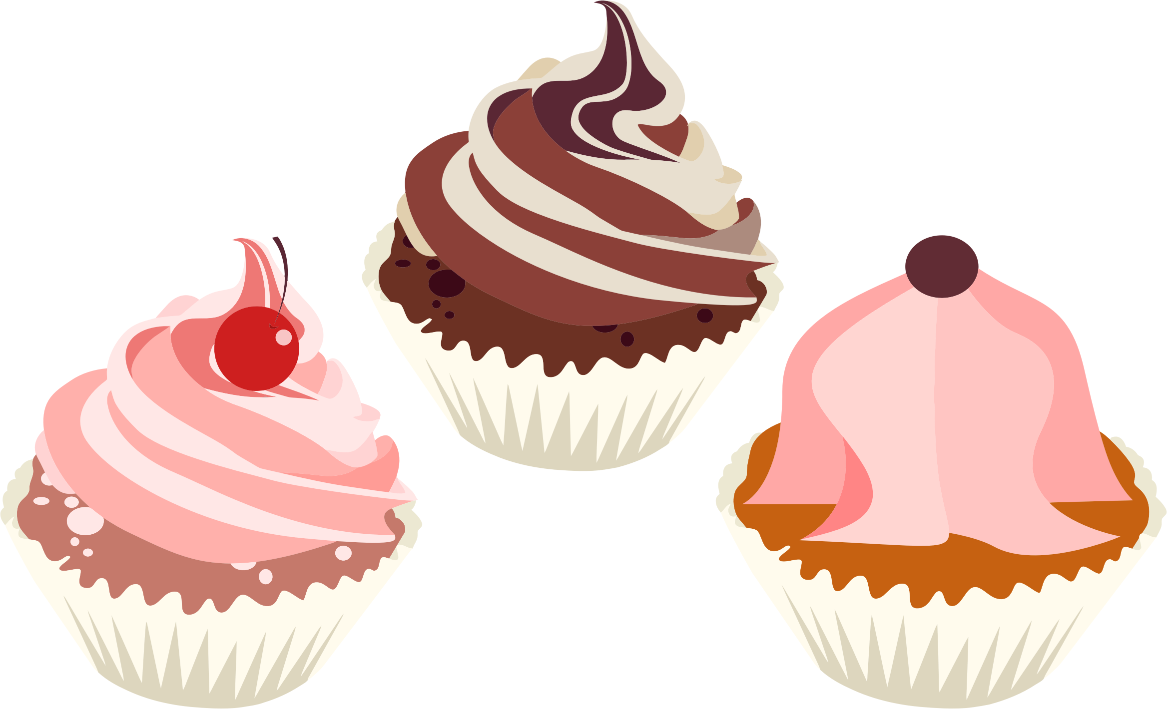 Desserts clipart cupcake. Three delicious cupcakes big