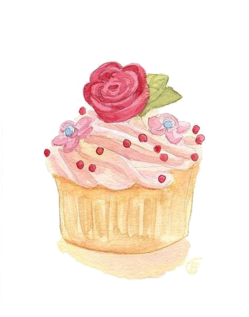 Clipart cupcake rose. Watercolor painting illustration cake
