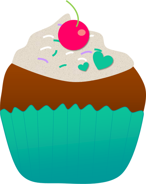 July clipart gold cupcake.