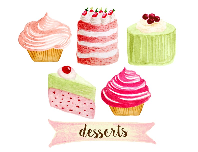 Bakery party cakes desserts. Cupcake clipart tea