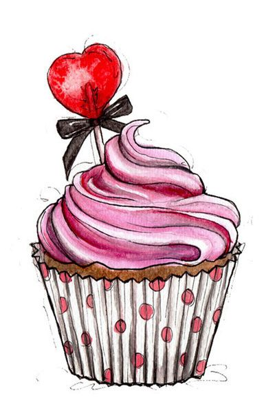 Pink made with strawberries. Cupcake clipart victorian