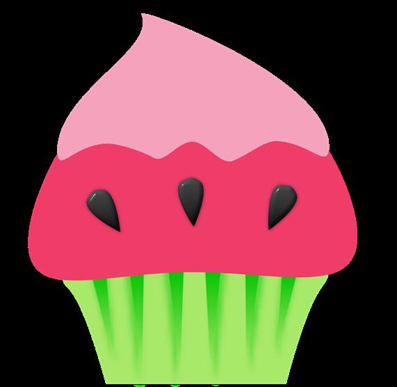 A origem dos cupcakes. Watermelon clipart cupcake