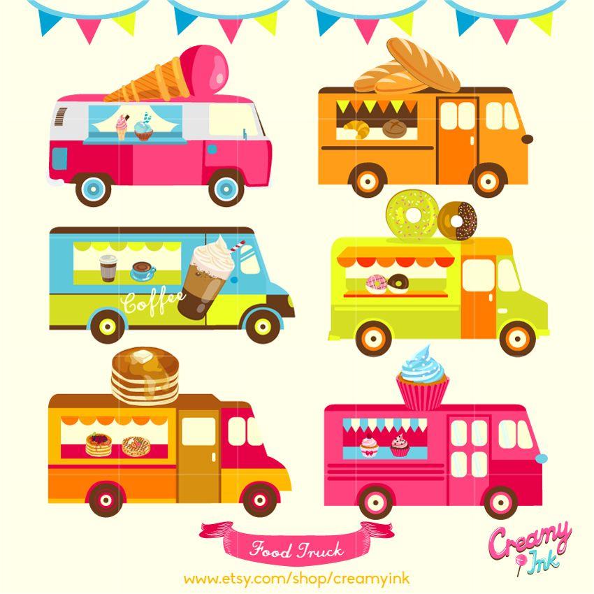 Food trucks digital clip. Clipart cupcake truck