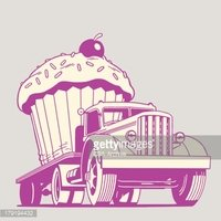 Moving giant stock vectors. Clipart cupcake truck