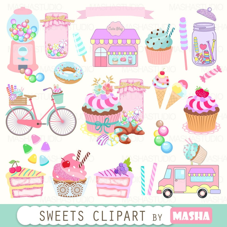 Clipart cupcake truck. Bakery sweets with candy