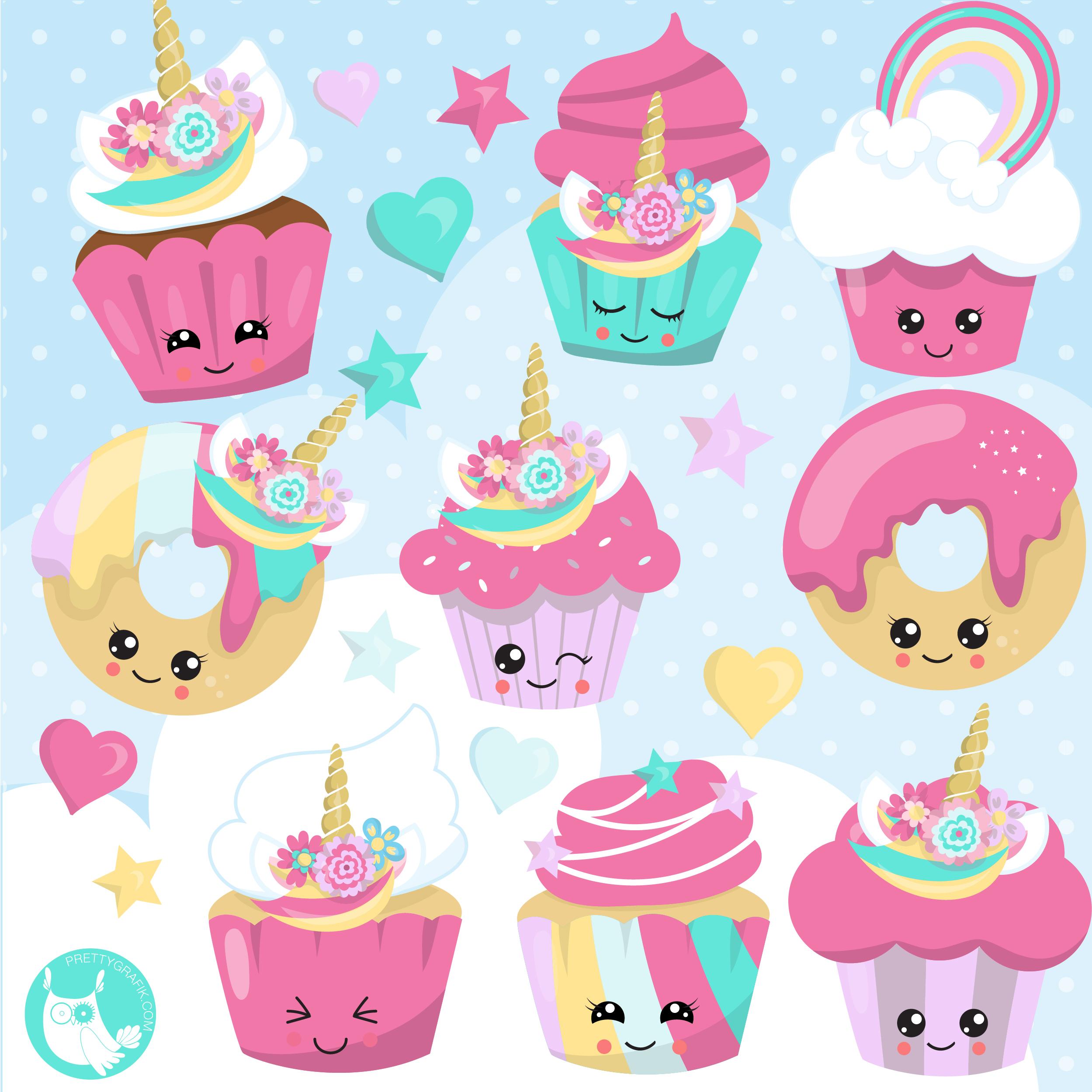 Cupcakes . Clipart unicorn cupcake