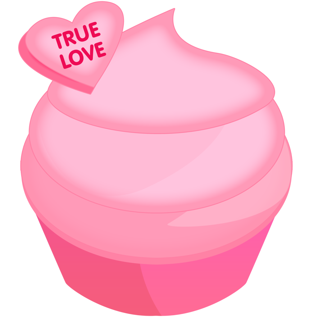 Pink for s day. Cupcake clipart valentine