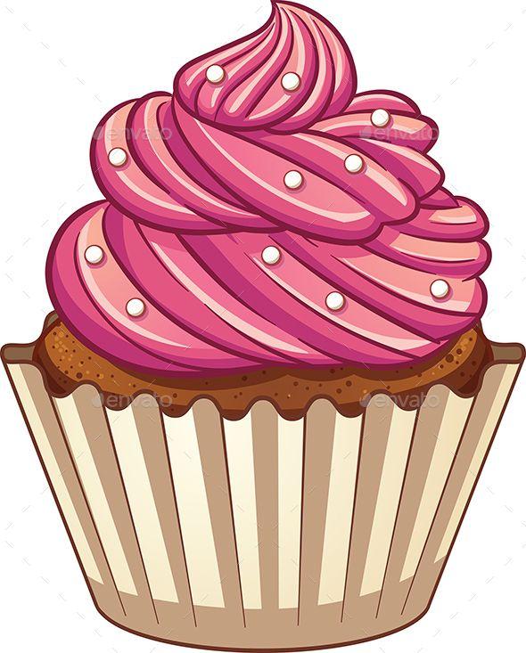 Muffins clipart simple cupcake. Cartoon vector clip art