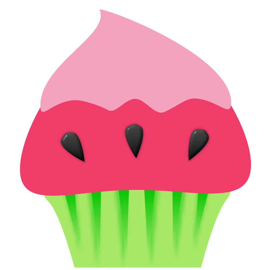 Clipart cupcake watermelon. Graphic b a k
