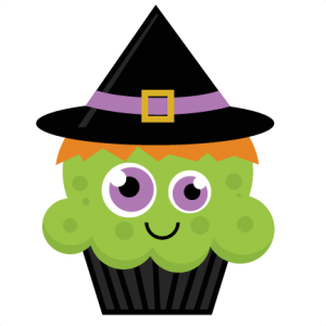 Clipart cupcake witch. Svg cut file halloween