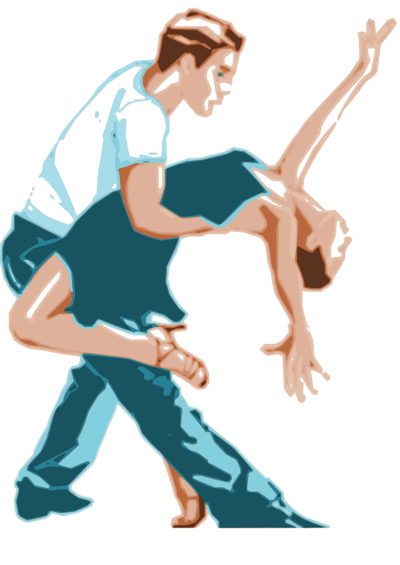 Dancers in two tone. Dance clipart animated