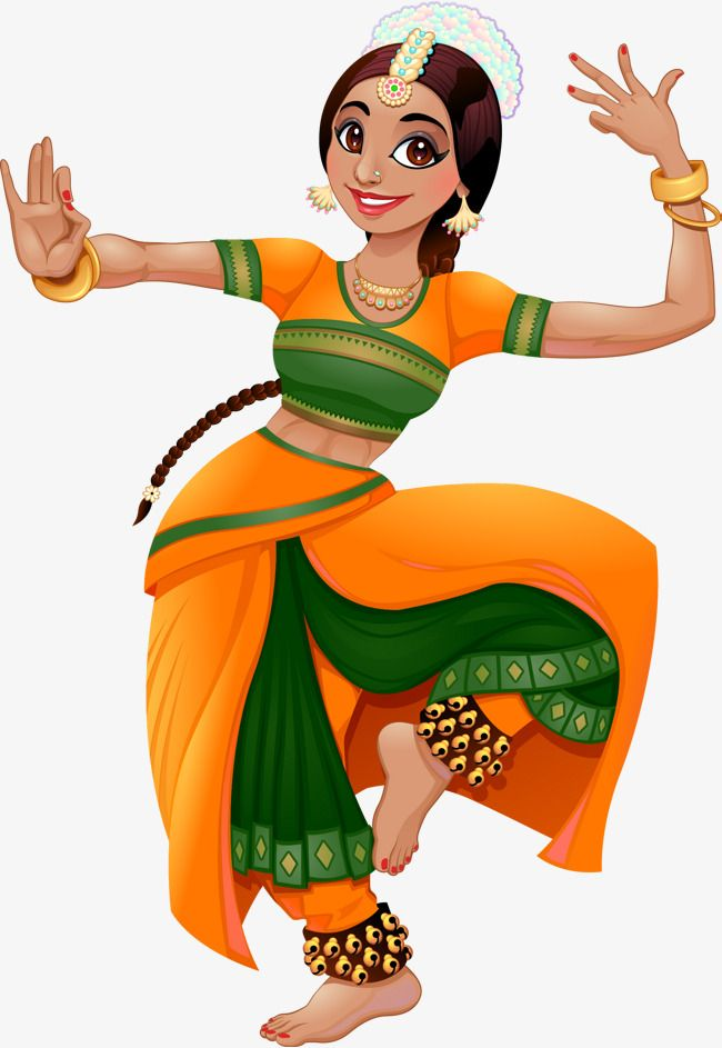Dance clipart bollywood dance. Vector hand painted indian