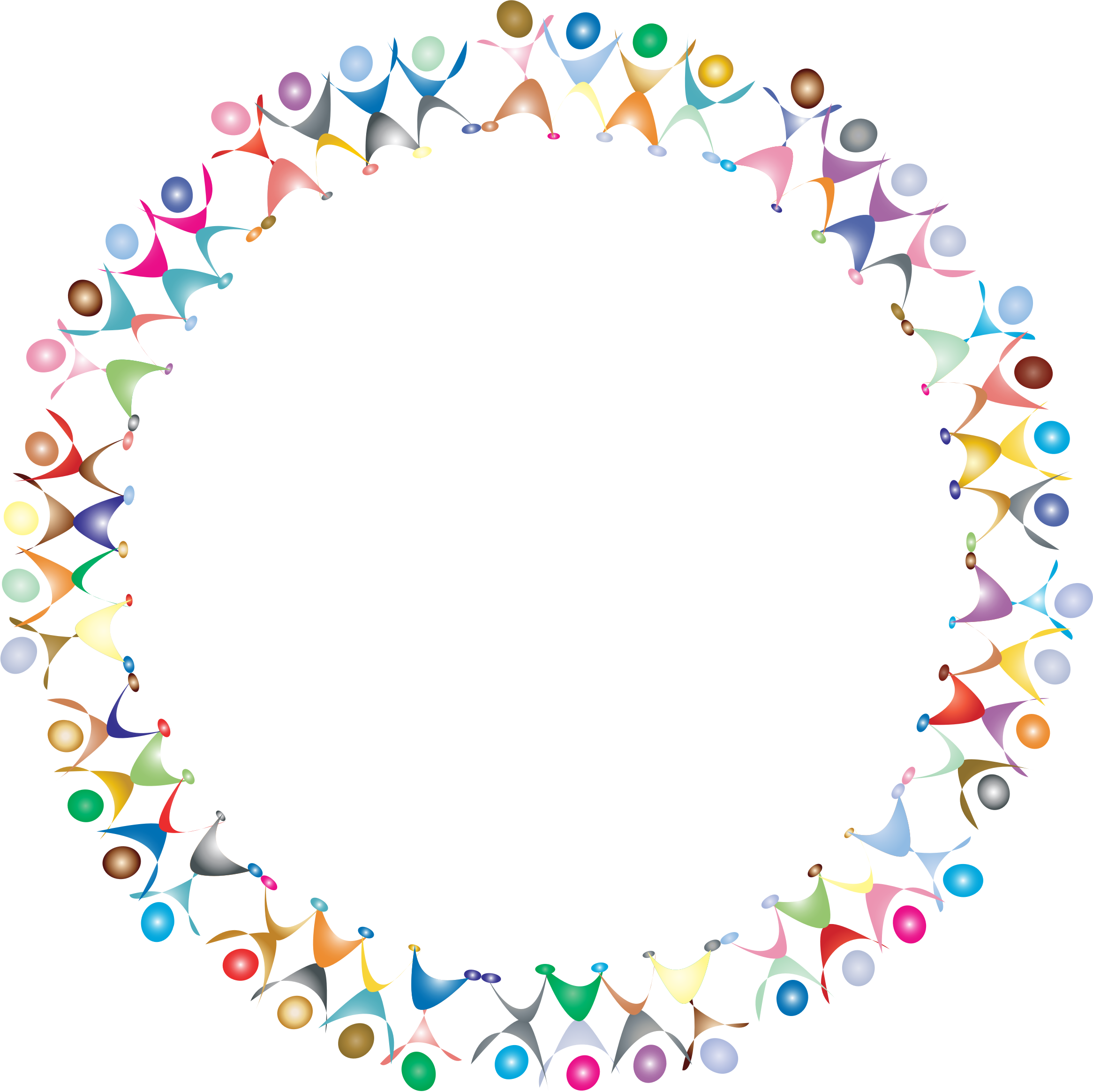 Dancing prismatic big image. Clipart people circle