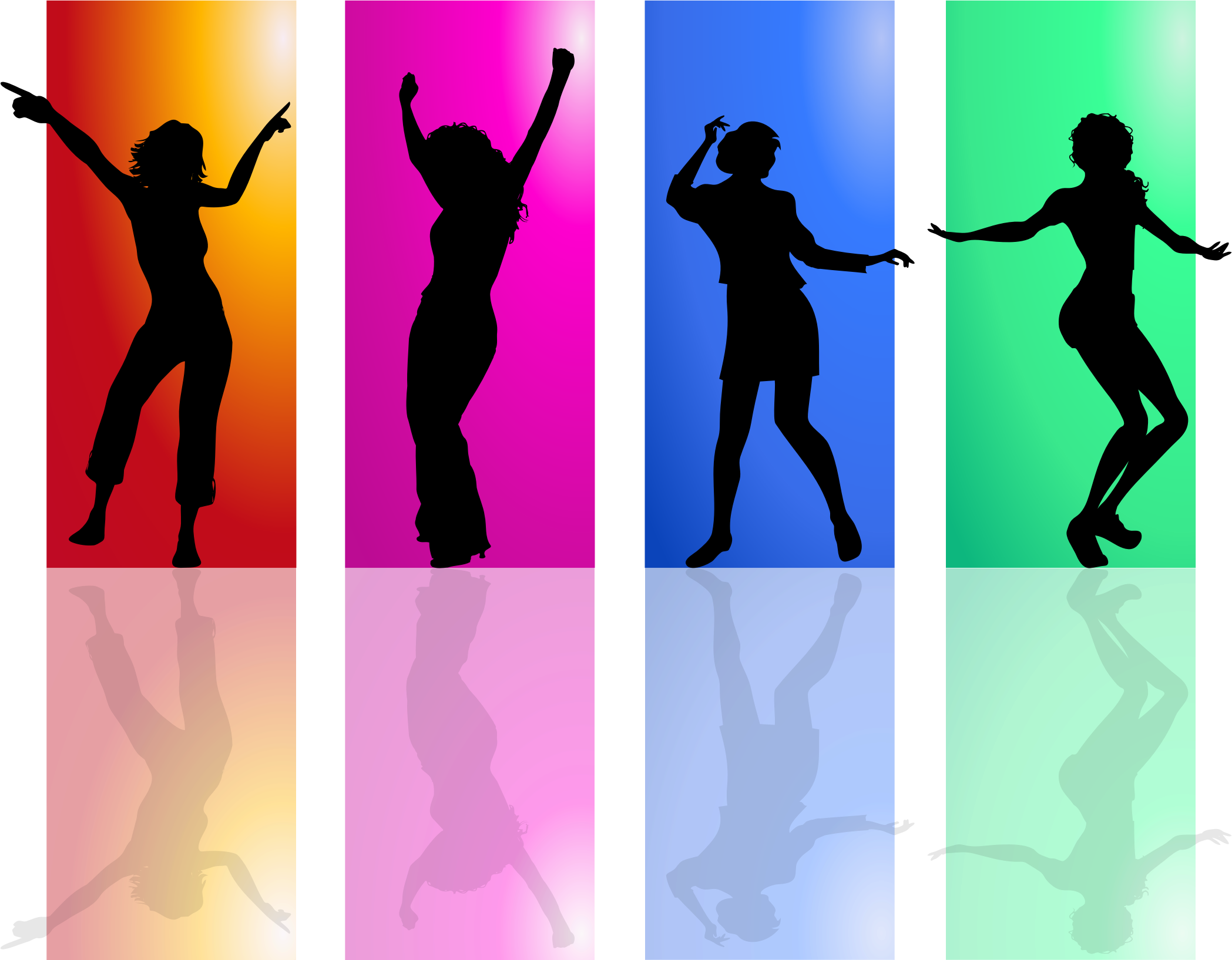 Dance clipart colorful. Dancing women silhouette by