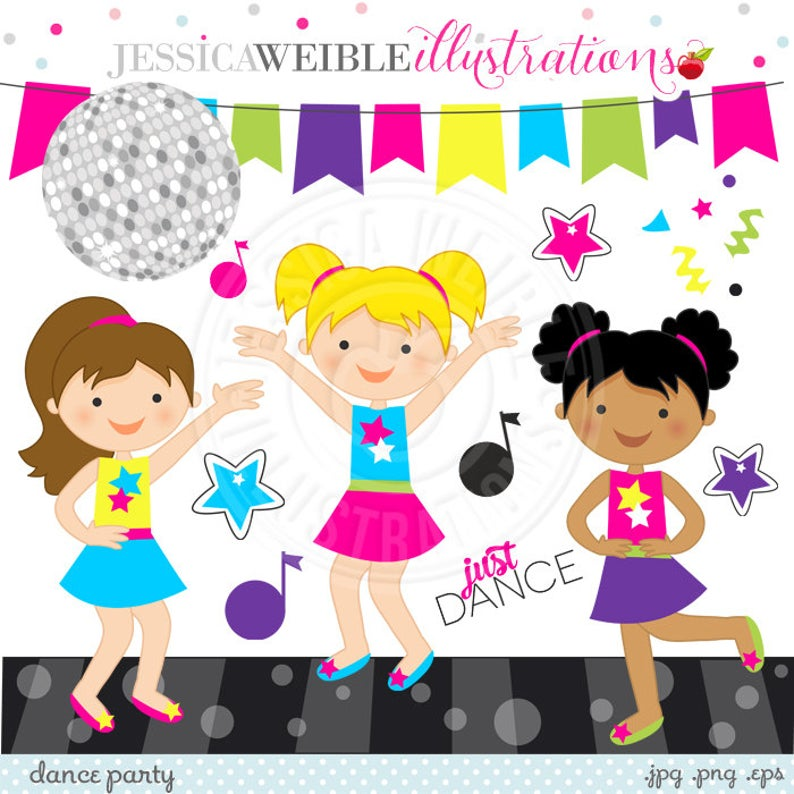 Party digital commercial use. Clipart dance cute