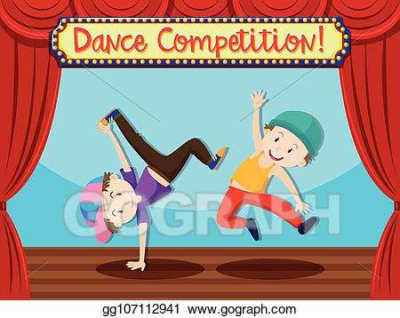 Vector street on stage. Clipart dance dance competition