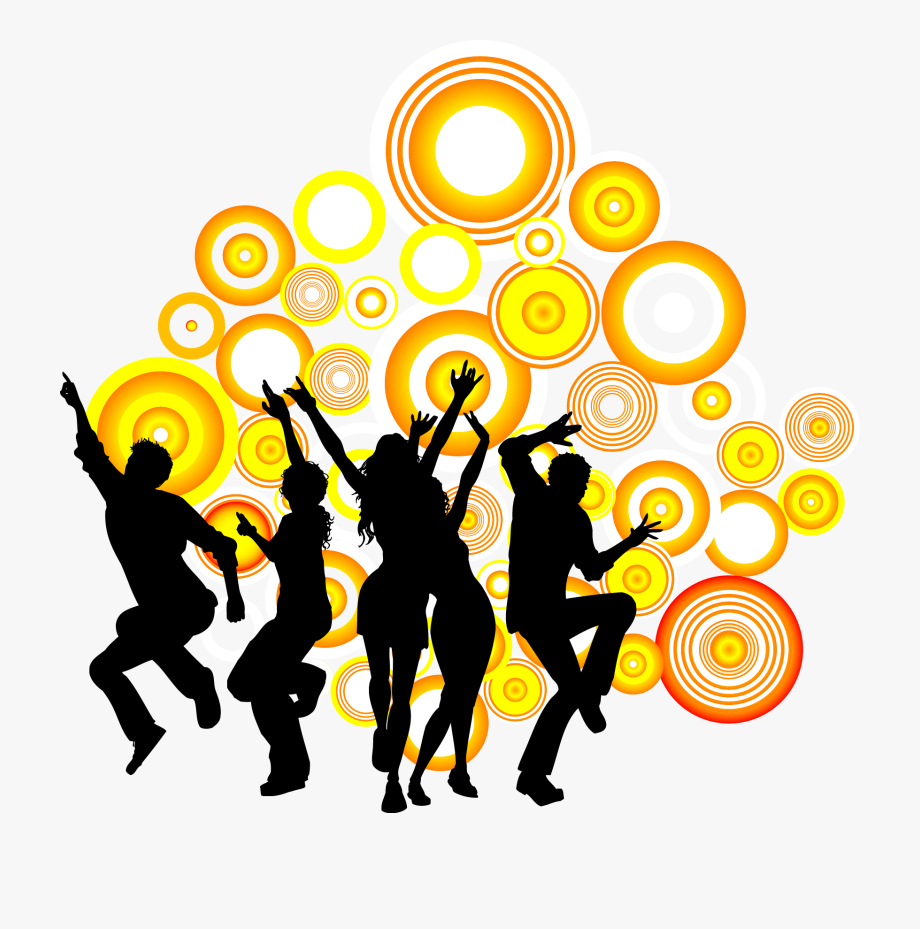 Silhouette people royalty free. Dance clipart dance party