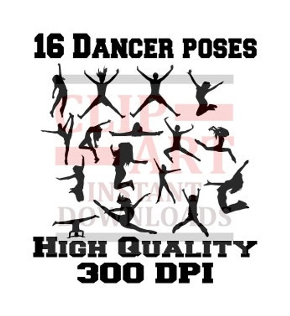 silhouette girl pose. Clipart dance dance form