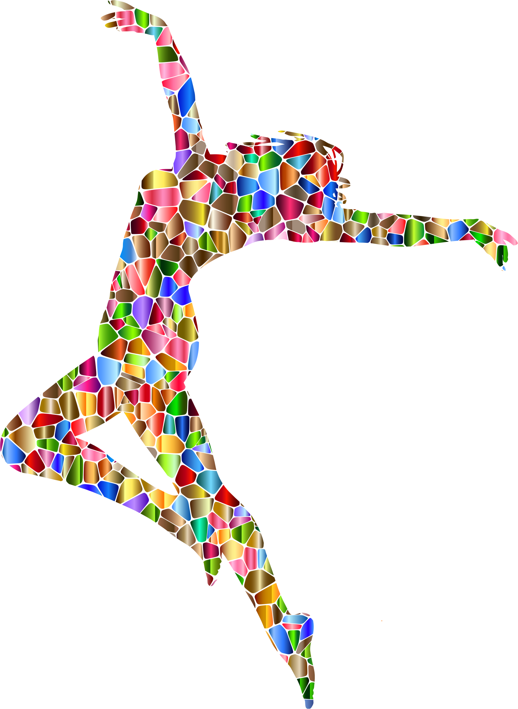 Chromatic tiled carefree dancing. Dance clipart colorful