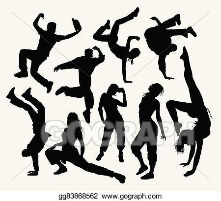 Dance clipart freestyle dance. Vector art silhouettes eps