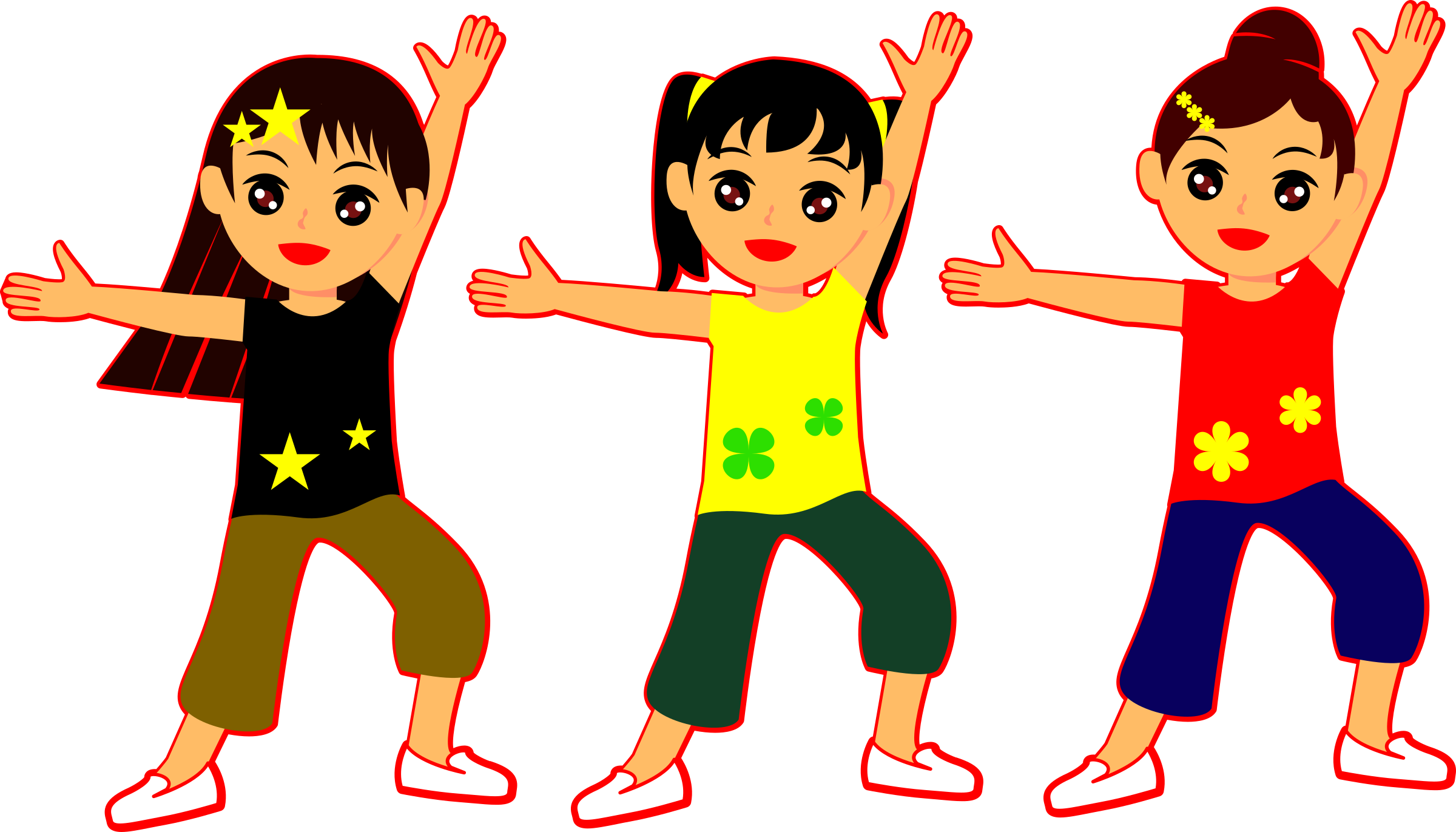 Dancing girls big image. Clipart dance group dance