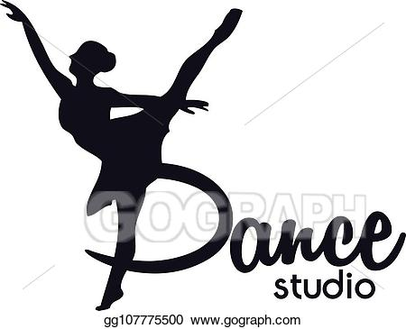 Dancer clipart logo. Vector illustration dance club