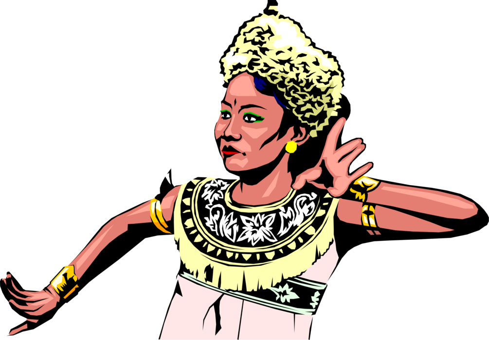 Indonesian woman performs image. Dance clipart vector
