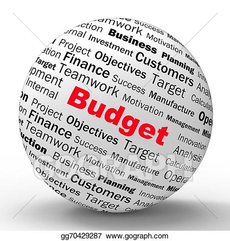 Budget sphere shows financial. Clipart definition