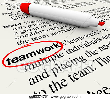 Stock illustration teamwork dictionary. Clipart definition