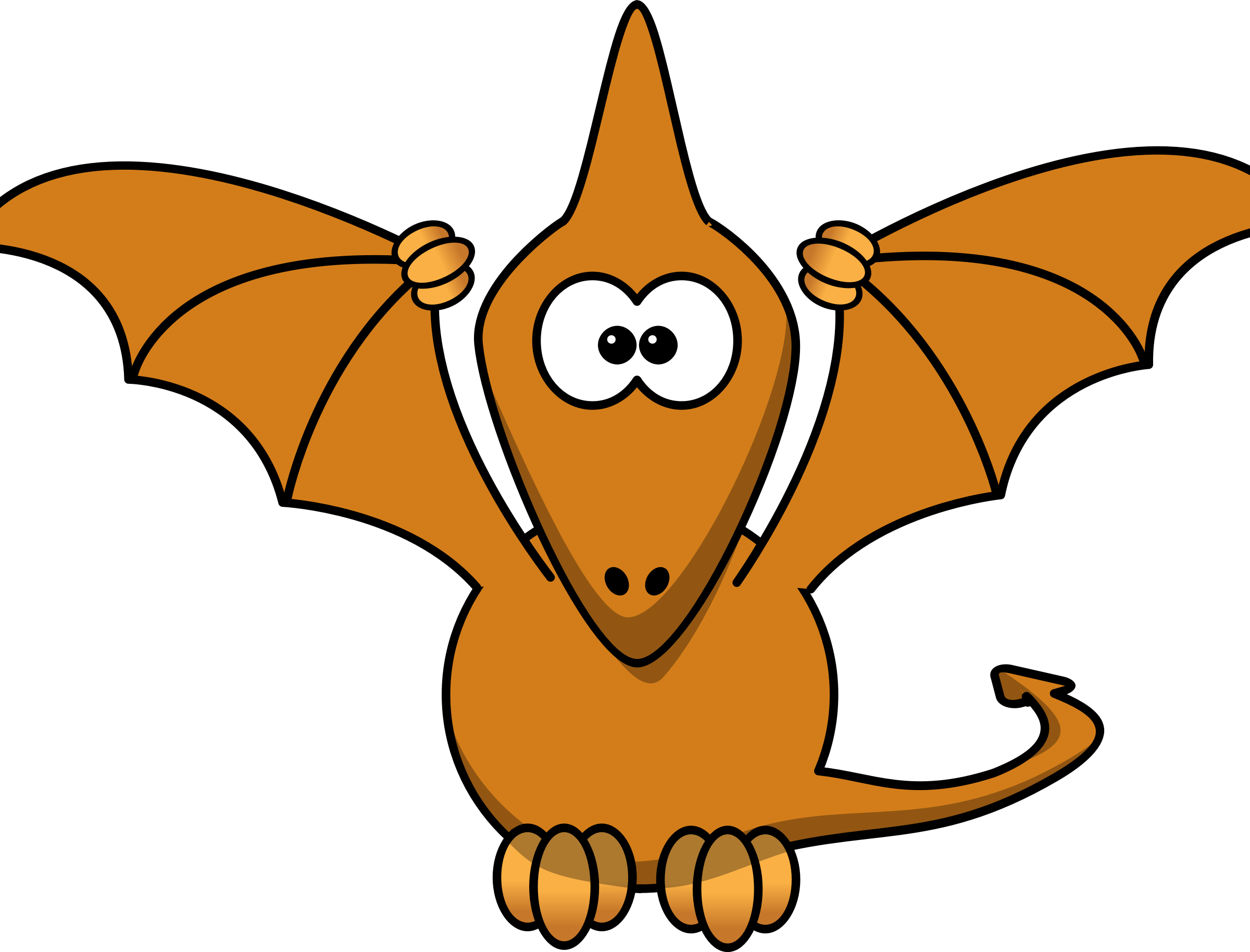 Cartoon pterodactyl with upraised. Clipart definition clip art
