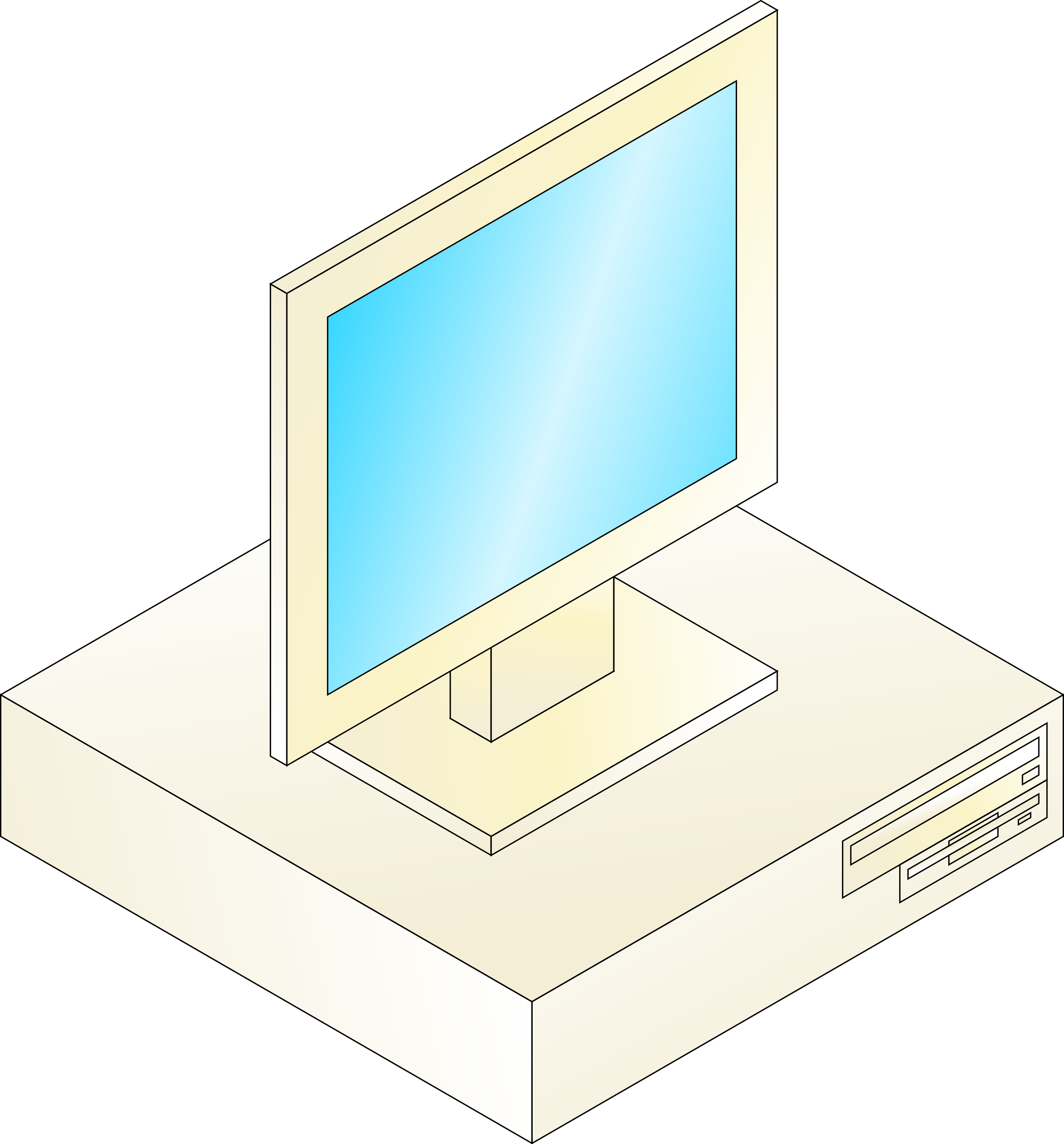 Desktop with monitor on. Clipart definition computer