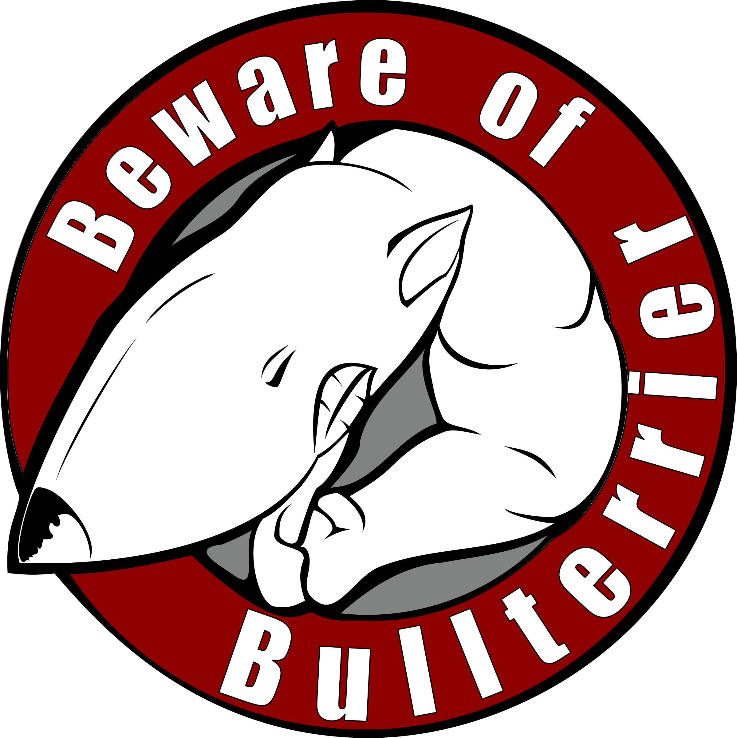 Beware of bullterrier big. Clipart definition illustration