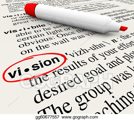Drawing vision word dictionary. Clipart definition terminology