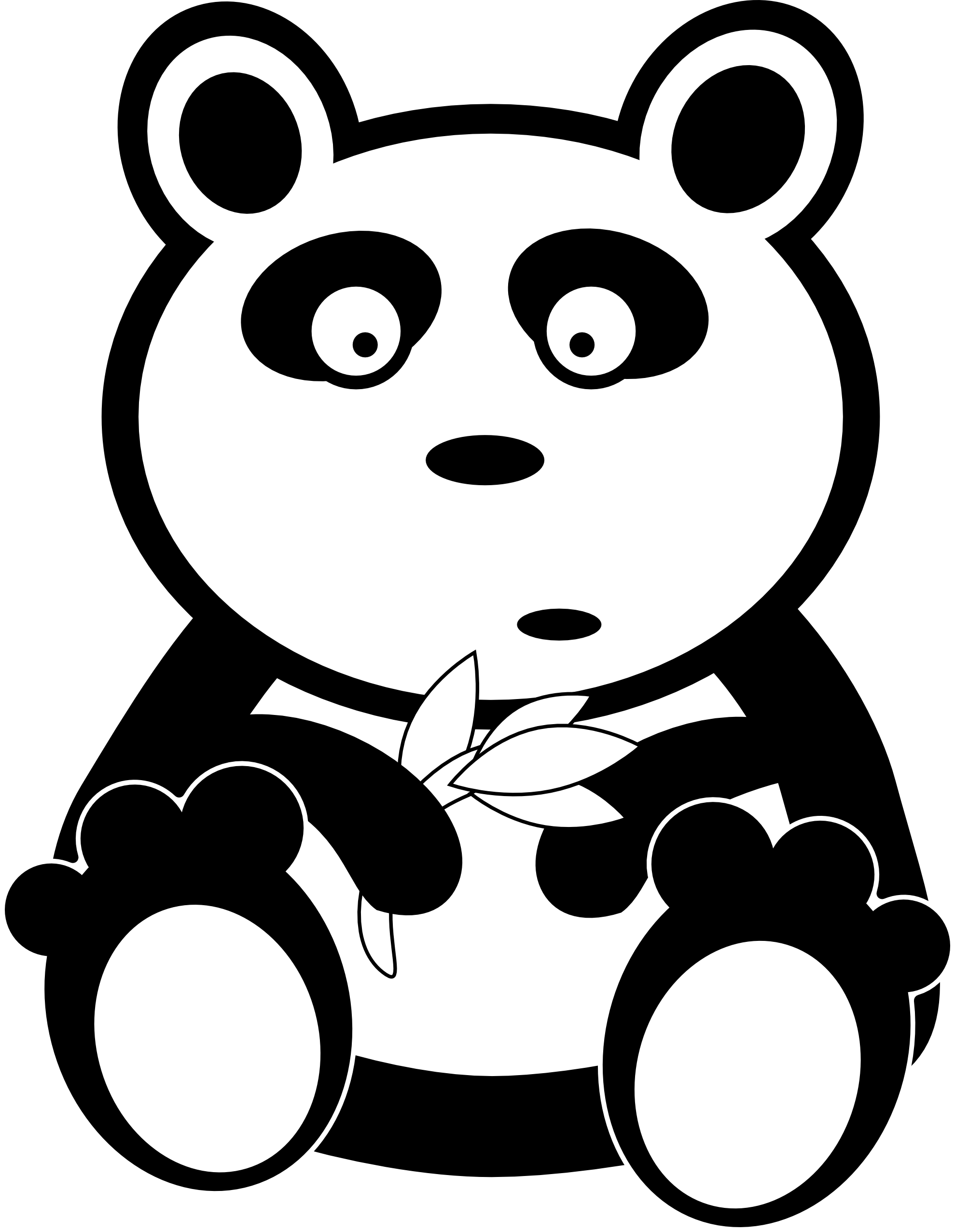 Panda black and white. Hippie clipart coloring sheet