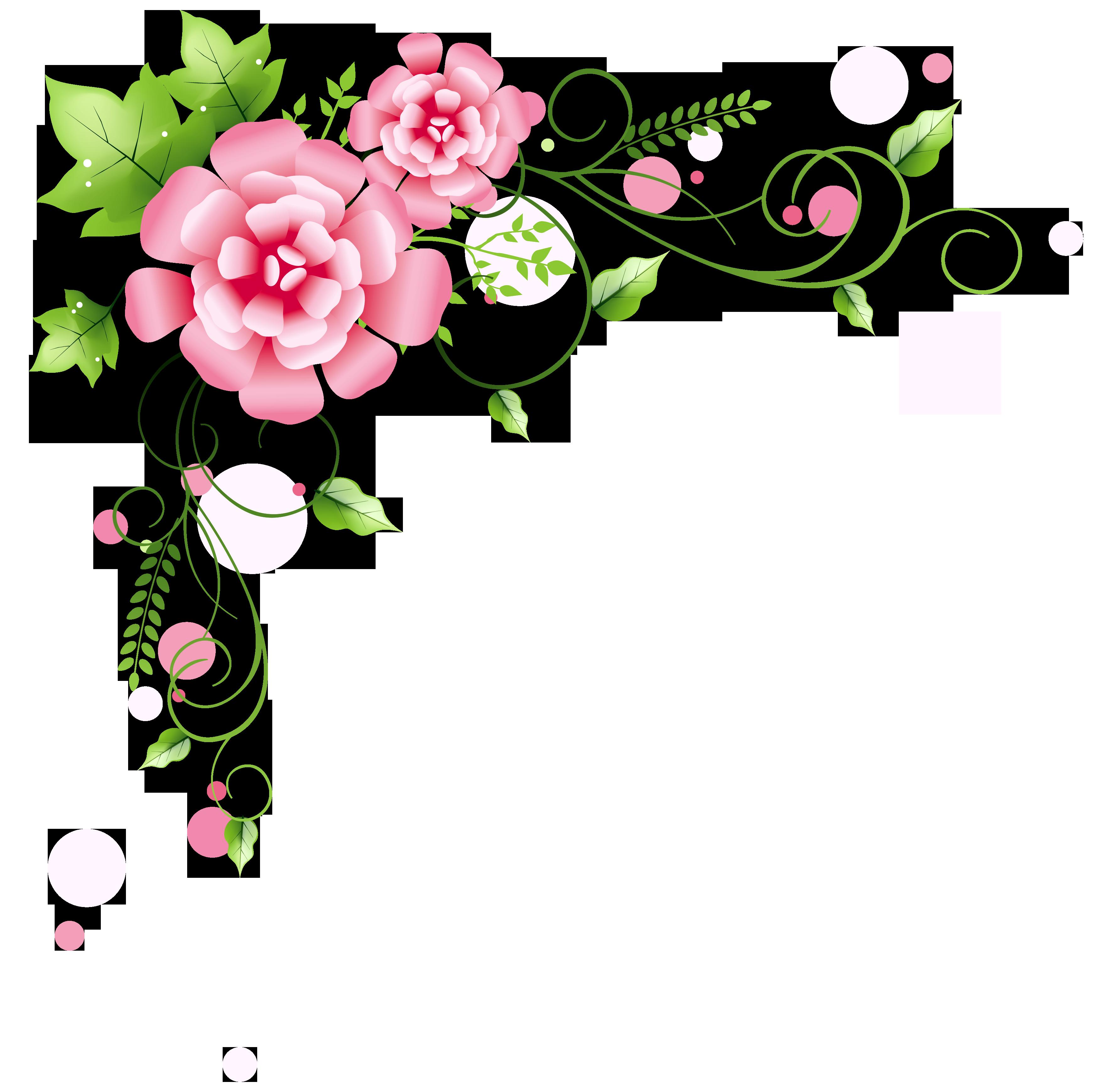 Floral decoration clipart picture. Corner frame png