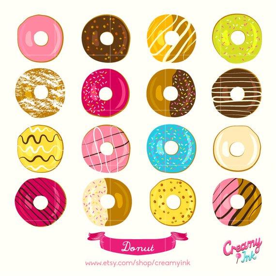 Donut clipart design. Colourful digital vector clip
