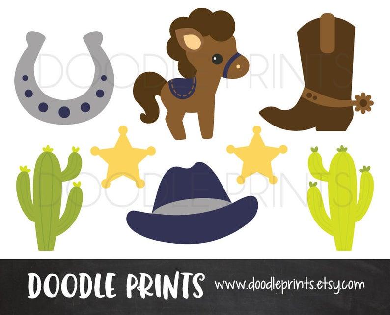 Cowboy clipart printable. Digital clip art western