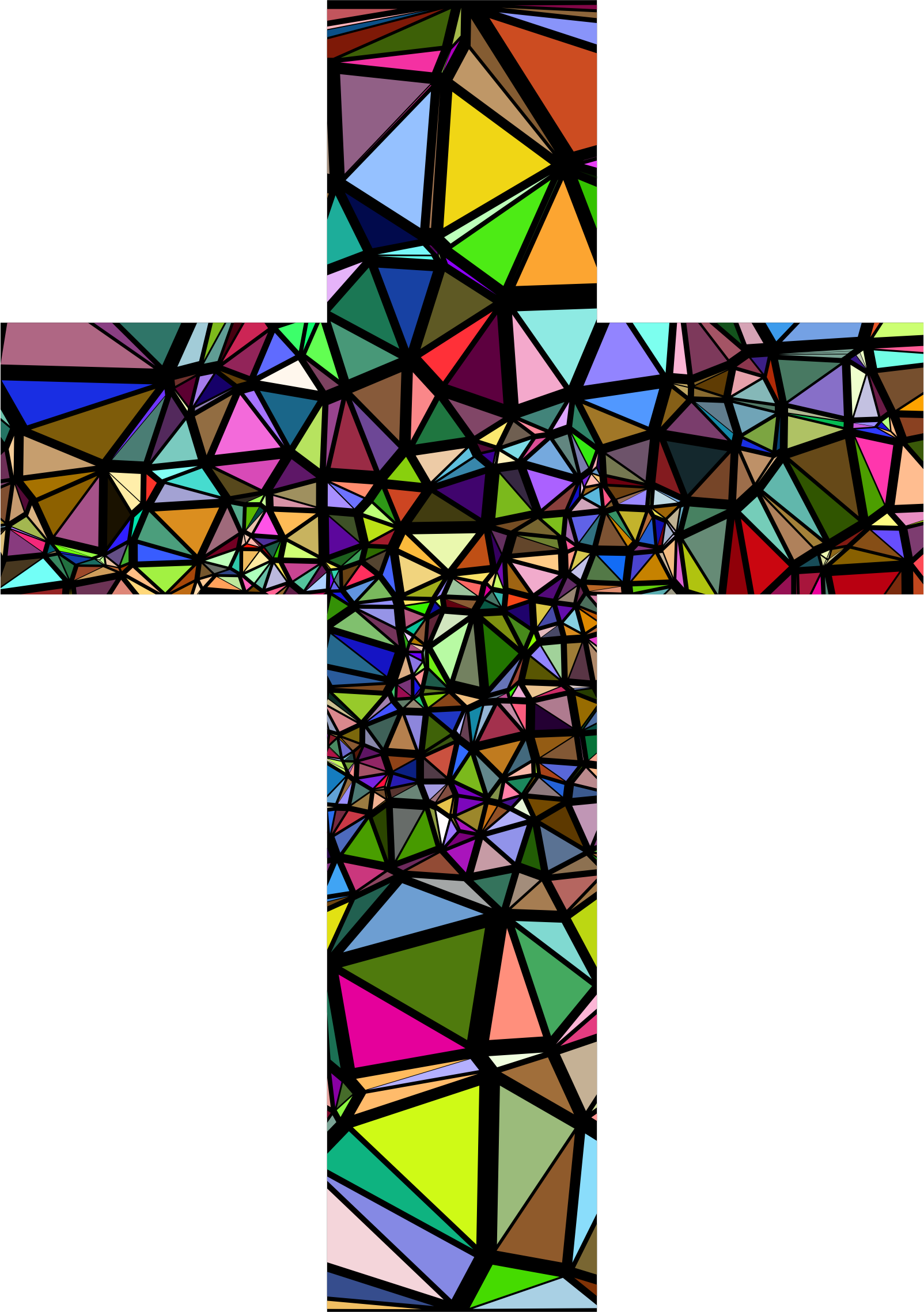 Crucifix clipart contemporary cross. Low poly stained glass