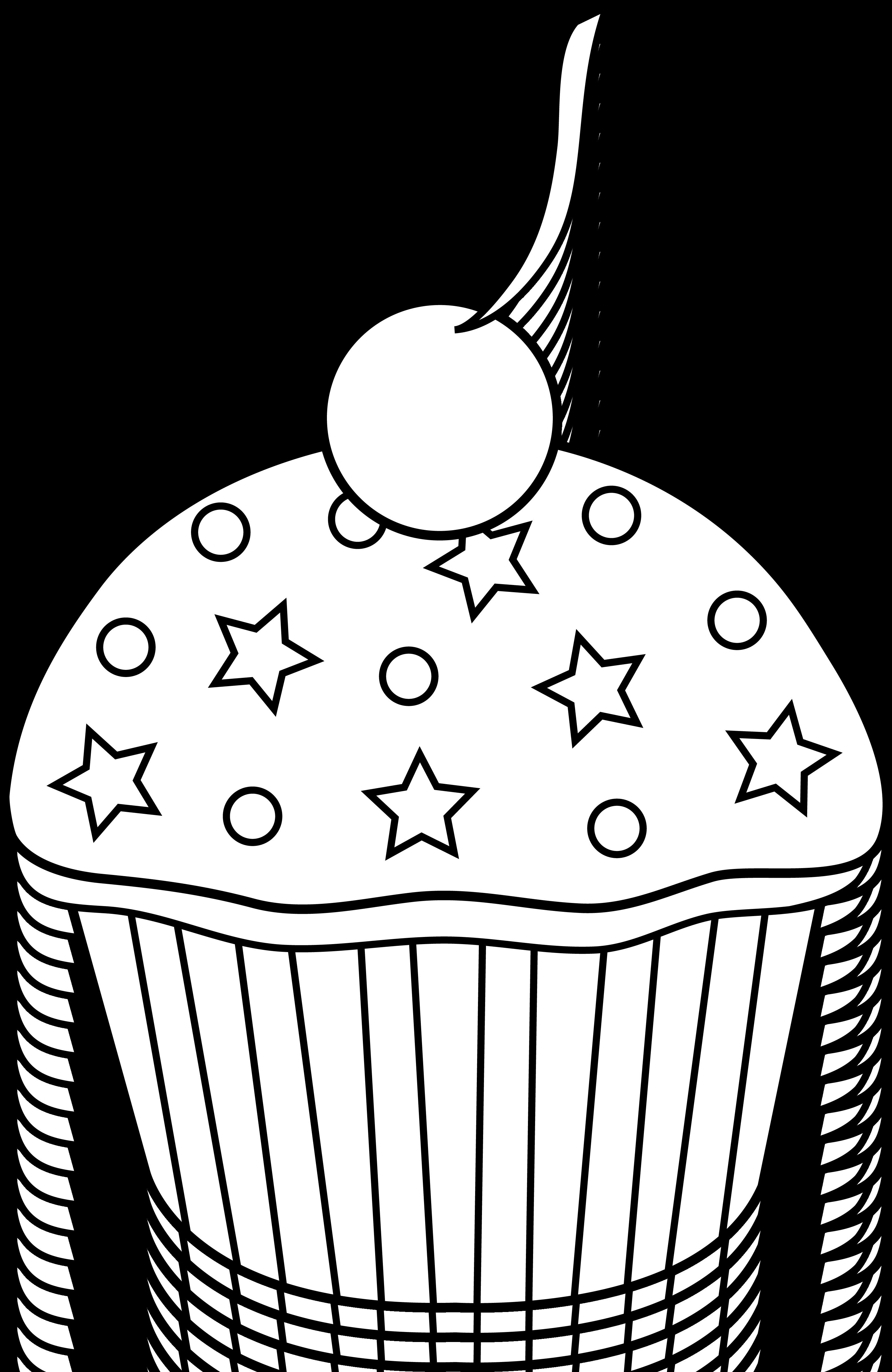 Cute clipart dessert. Colorable cupcake design free