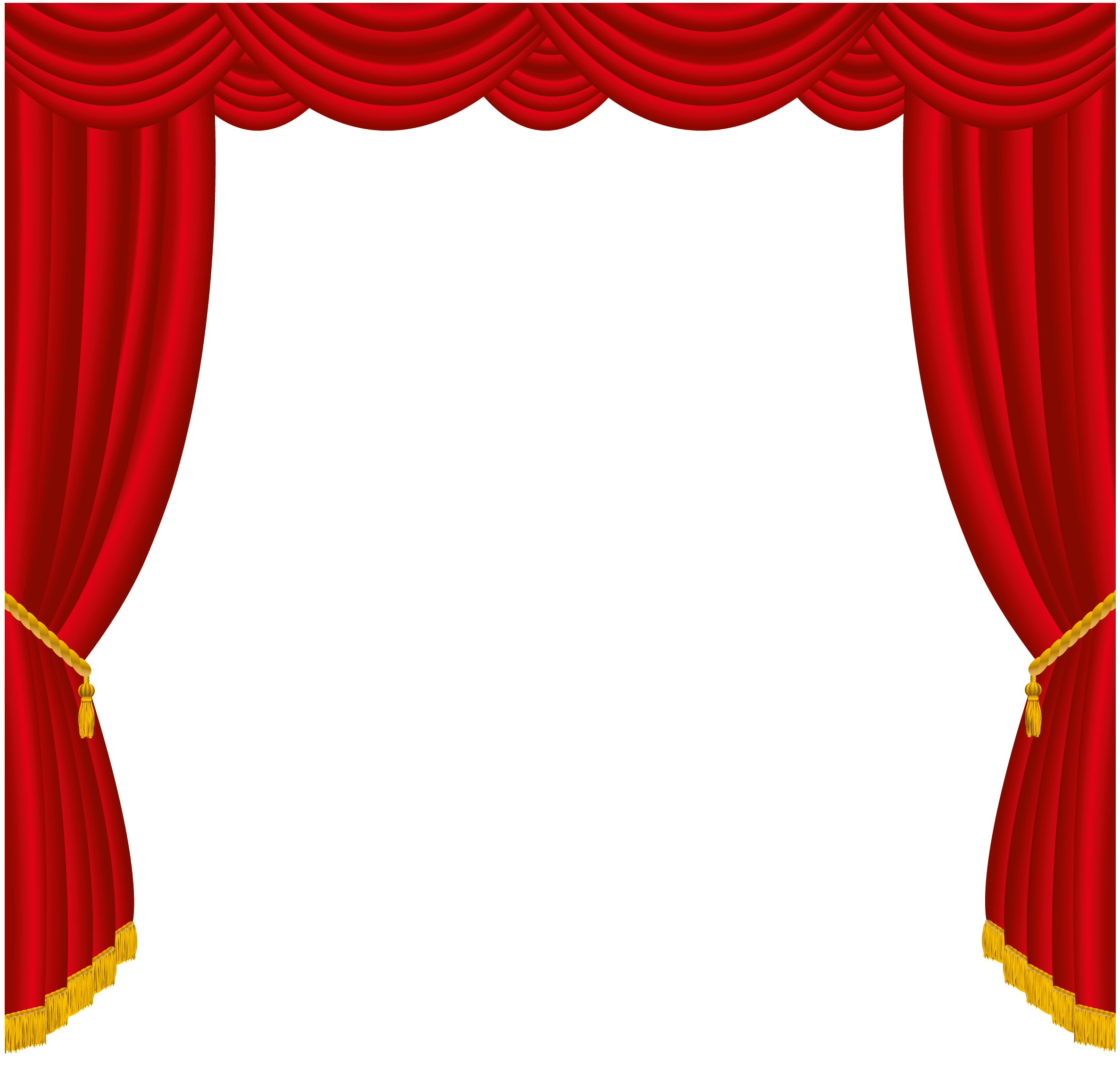 Transparent red curtains decor. Theatre clipart broadway shows