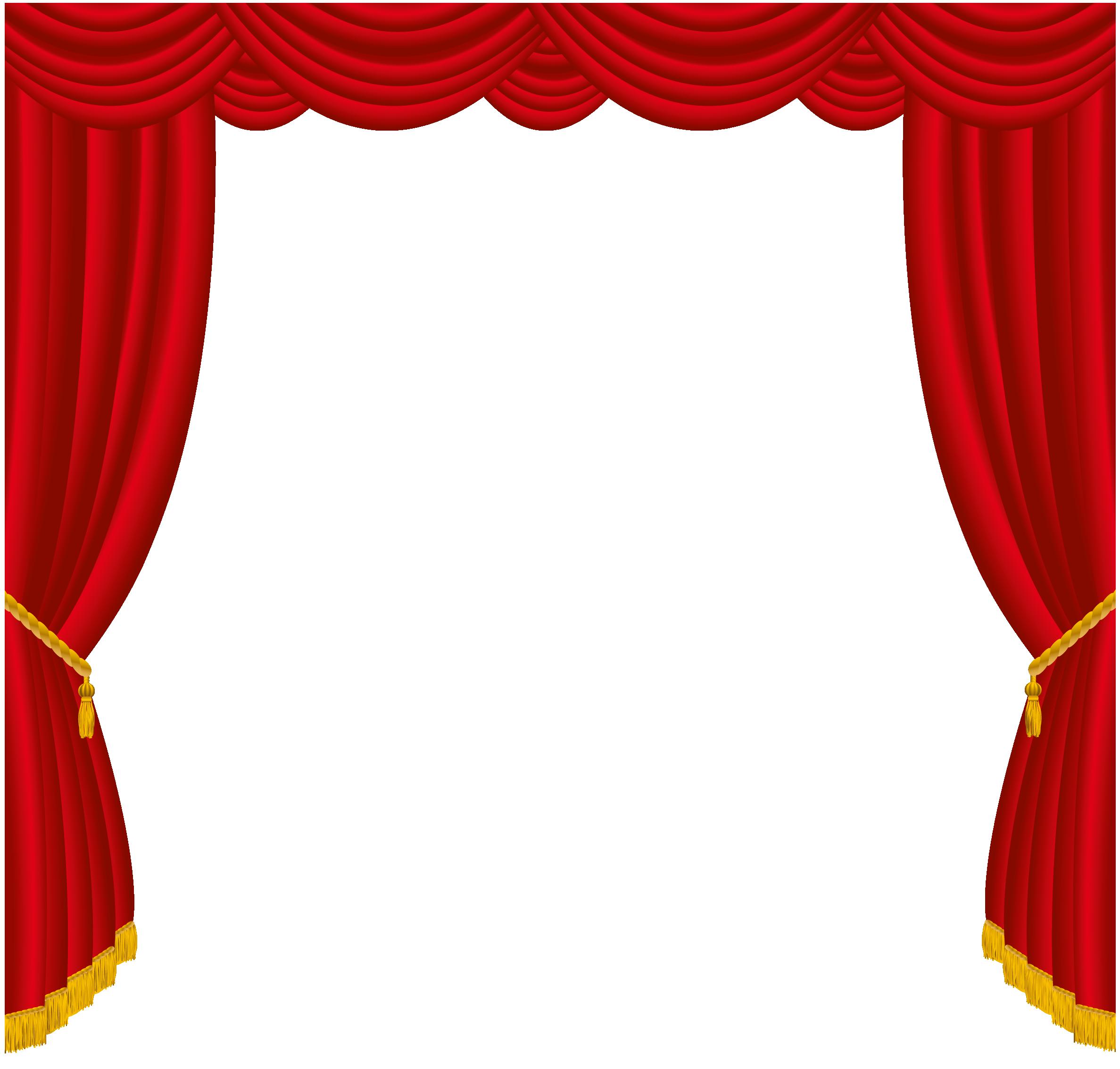 Transparent red decor png. Curtains clipart cartoon