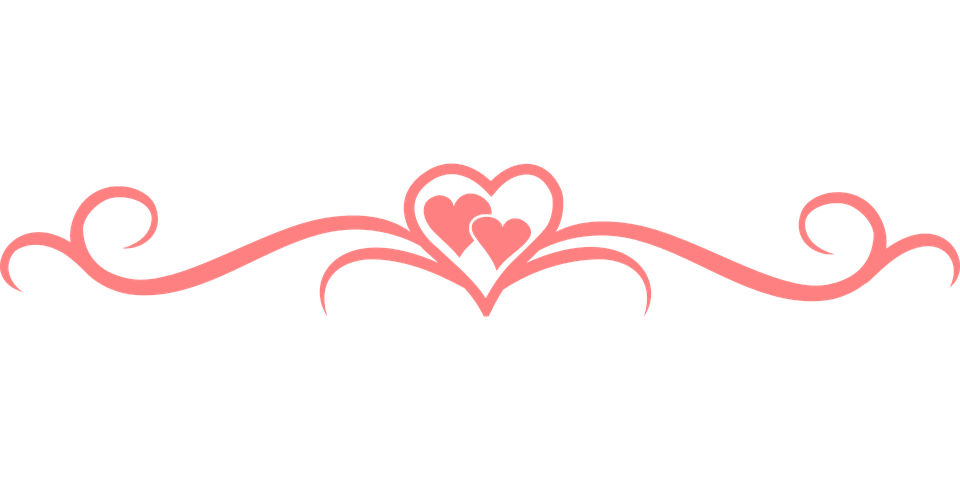 Decorative clipart divider.  flourish hearts separator