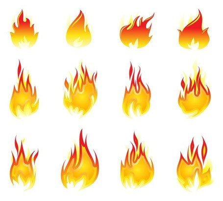 Free elementss and vector. Flames clipart fire design